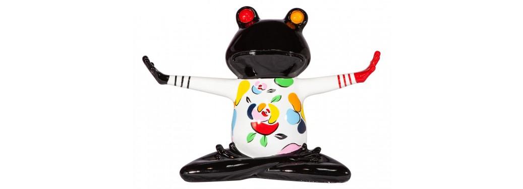 Statue grenouille yoga en résine