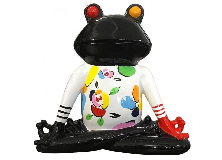 Statue de grenouille Yoga, en position du lotus, mains jointes sur les cuisses