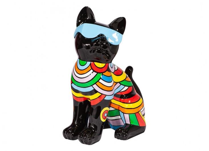 Chat noir et lunettes bleues, vêtu arc-en-ciel. Statue en résine
