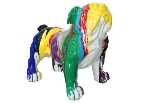 Statue Bulldog assis. Patchwork de couleurs