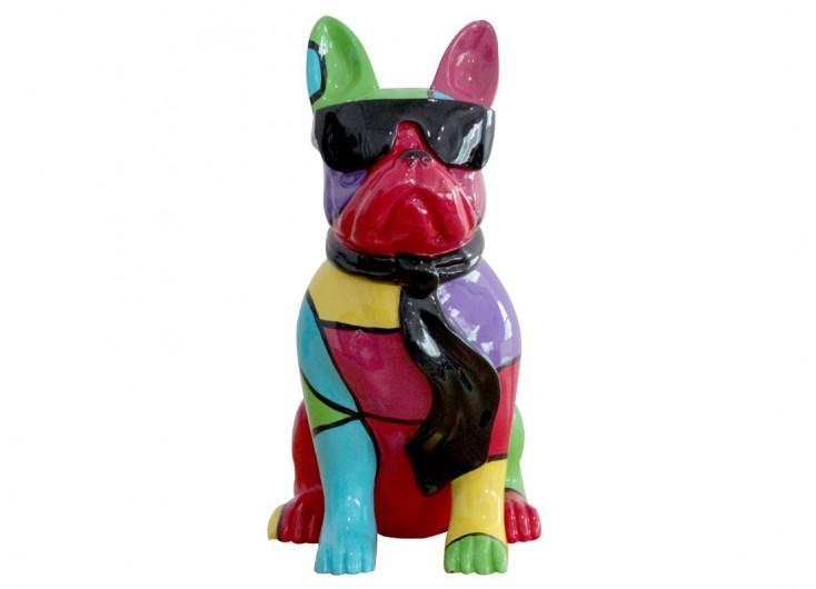 Statue Chien assis, bulldog français, lunettes de soleil