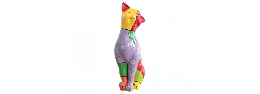 Statue chat souriant en résine