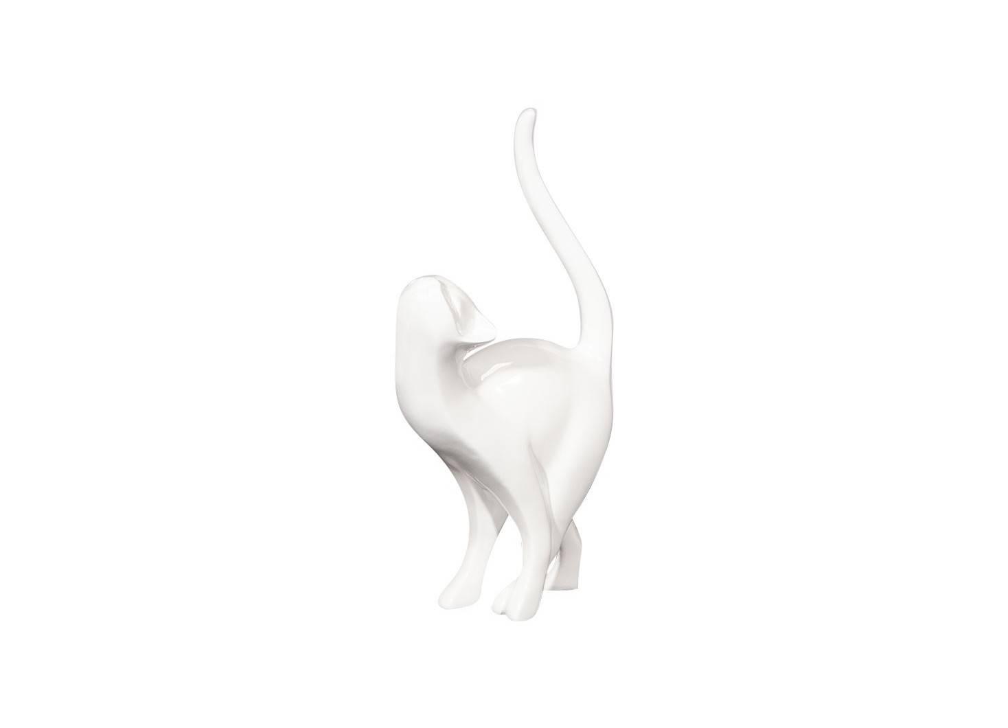 Statuette, Chat blanc en résine