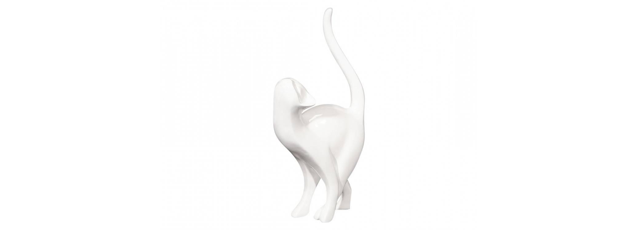 Statue chat blanc en résine