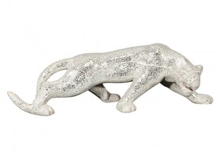 Jaguar statue in clay and broken glass/mirror