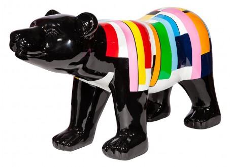 Grande statue ours noir. Effet traînées de peintures multicolores