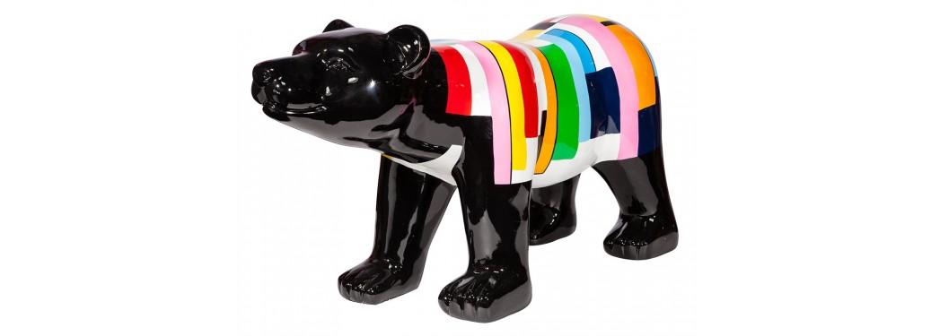 Statue ours à carreaux en résine