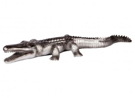 Statue de crocodile gris argenté en résine