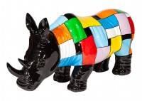 Statue de rhinocéros noir, habillé de motifs multicolores