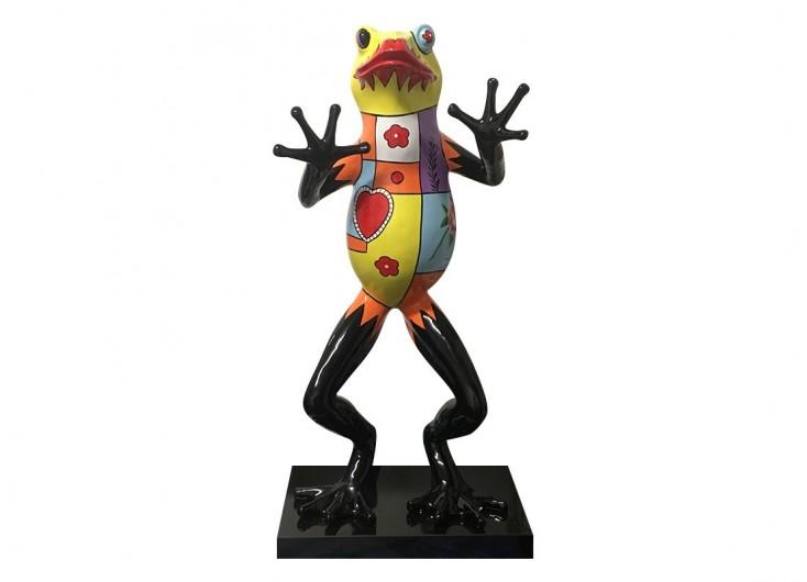 Statue de grenouille debout, décorée de motifs multicolores