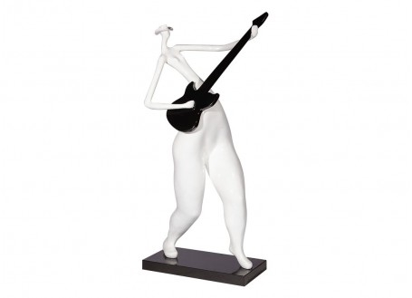 Grande statue de femme stylisée Jouant de la guitare, résine