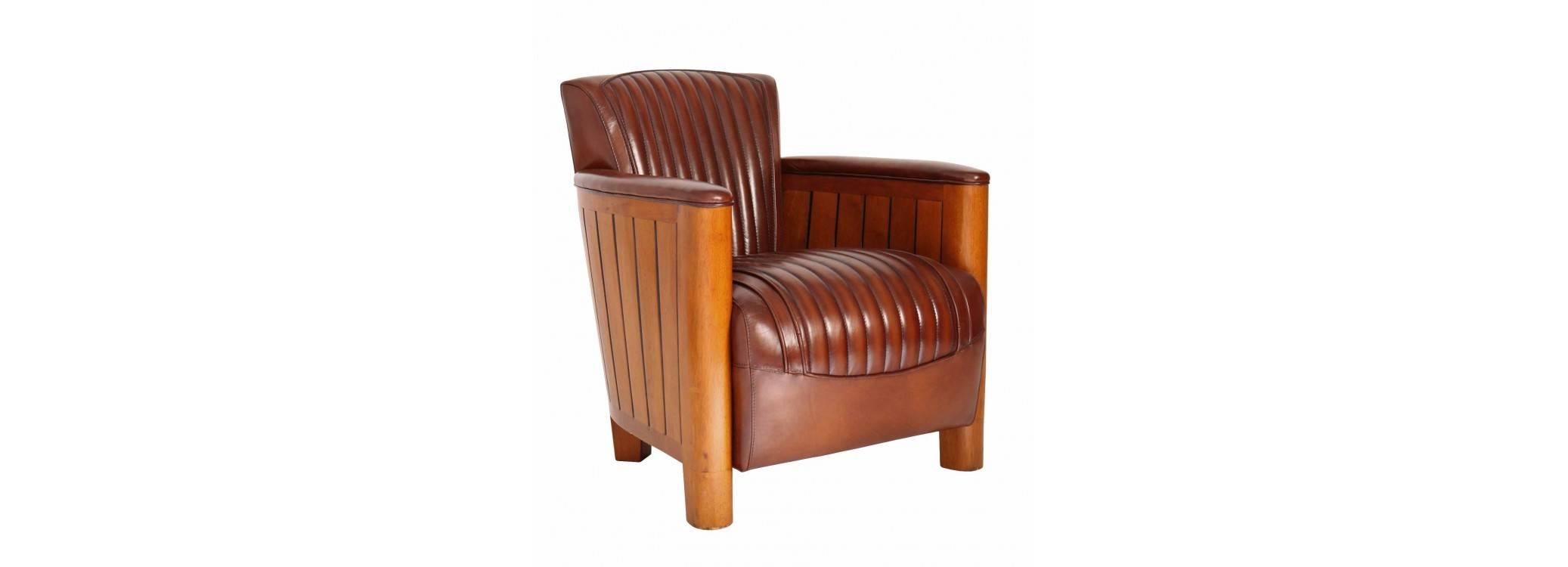 Fauteuil club Cognac - cuir marron