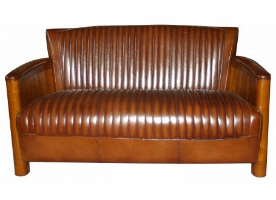 Cognac sofa - Brown leather