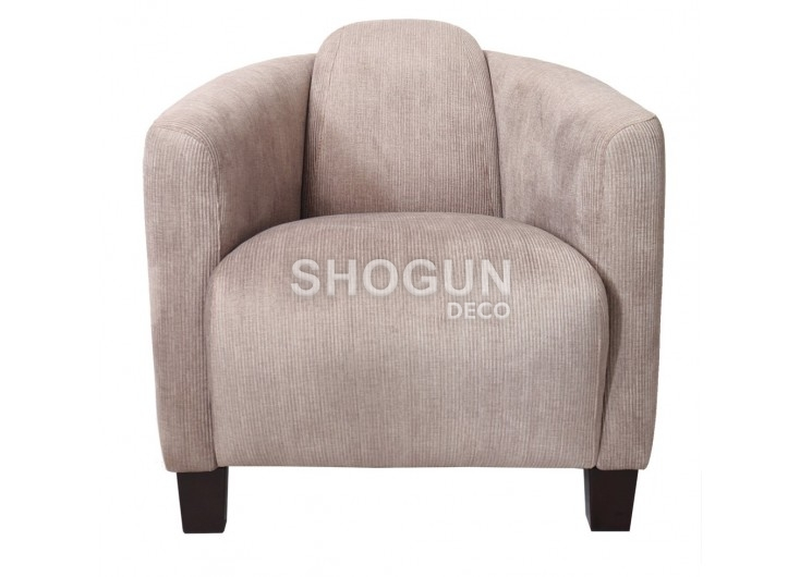 Fauteuil club Barquette - Velours taupe