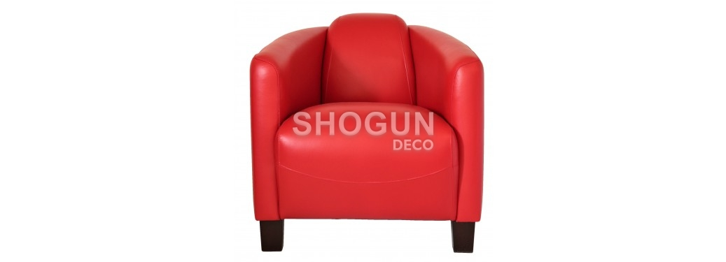 Fauteuil club Barquette - Cuir rouge