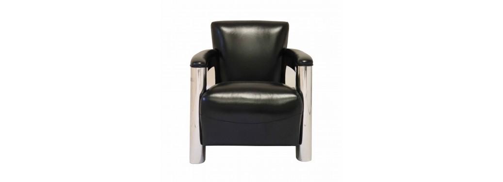 Fauteuil club Aston - Cuir noir