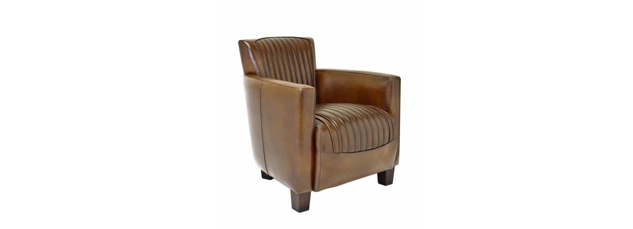 Fauteuil club Nogent sport - cuir marron
