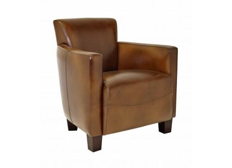Fauteuil club Nogent - cuir marron