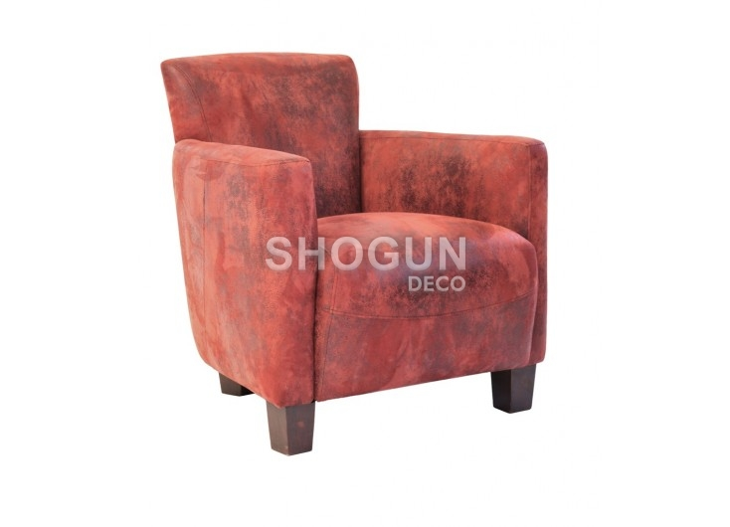 Fauteuil club Nogent - tissu rouge