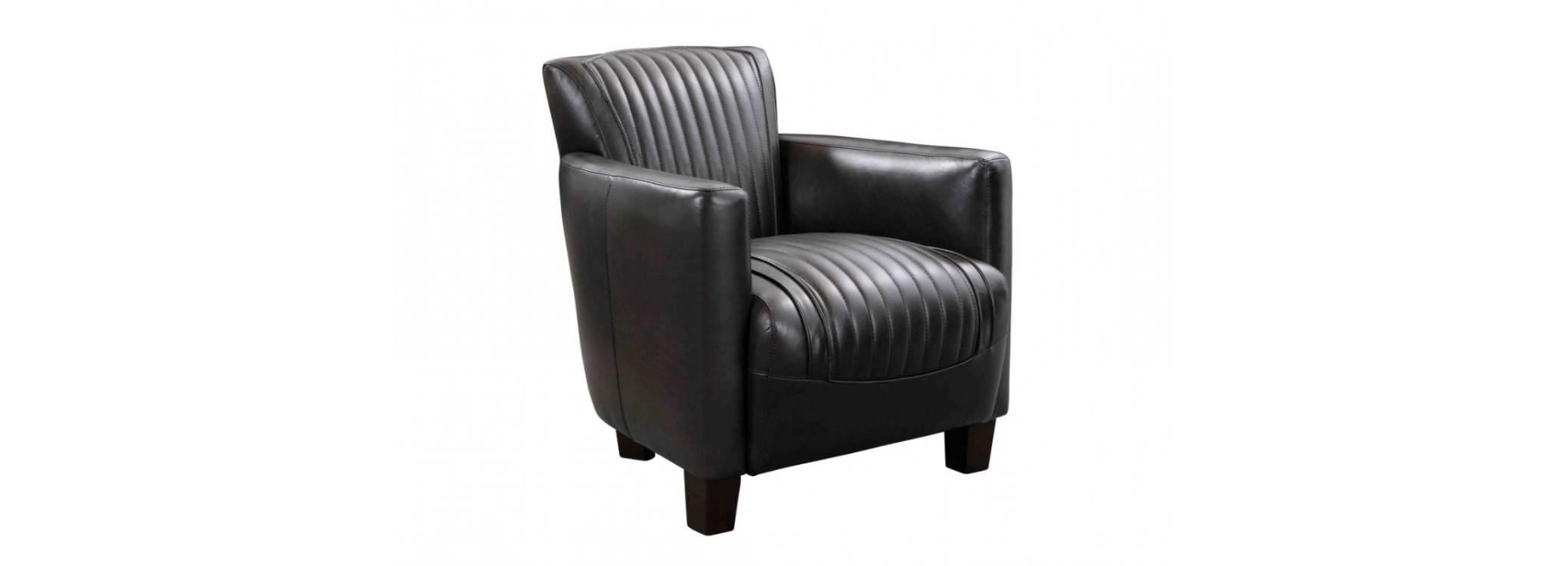 Fauteuil club Nogent sport - cuir noir