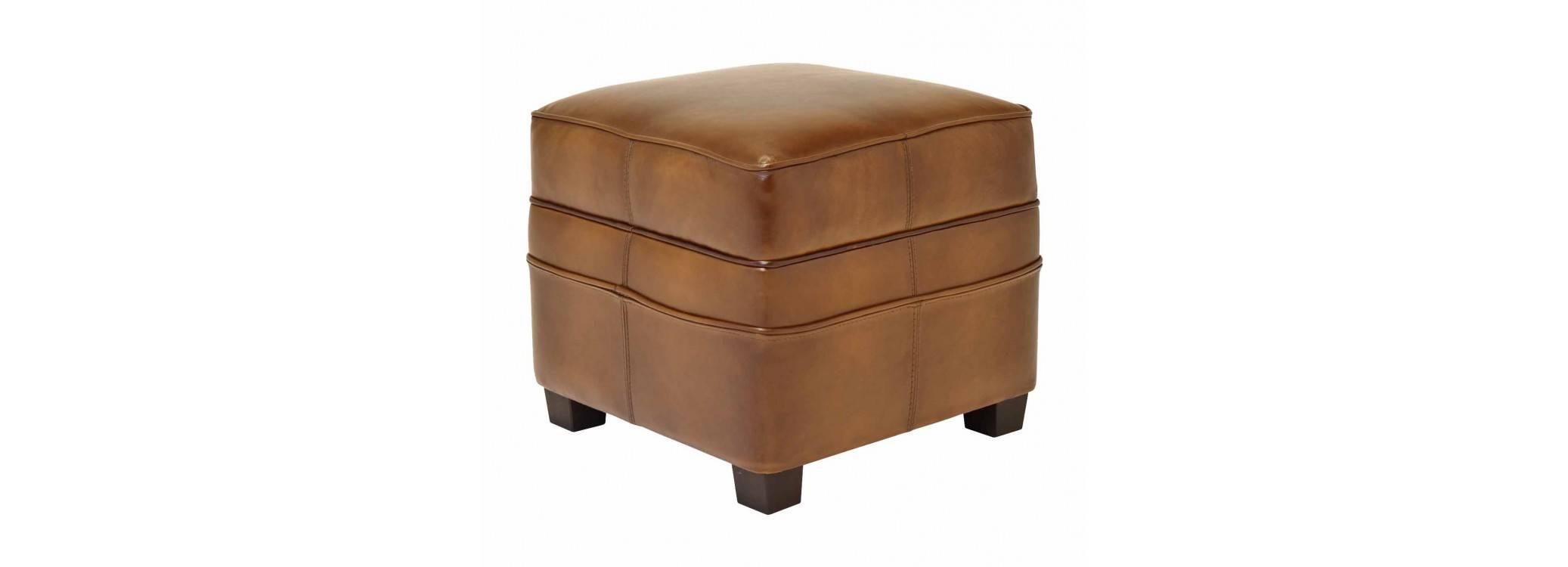 Pouf carré Nogent - Cuir marron