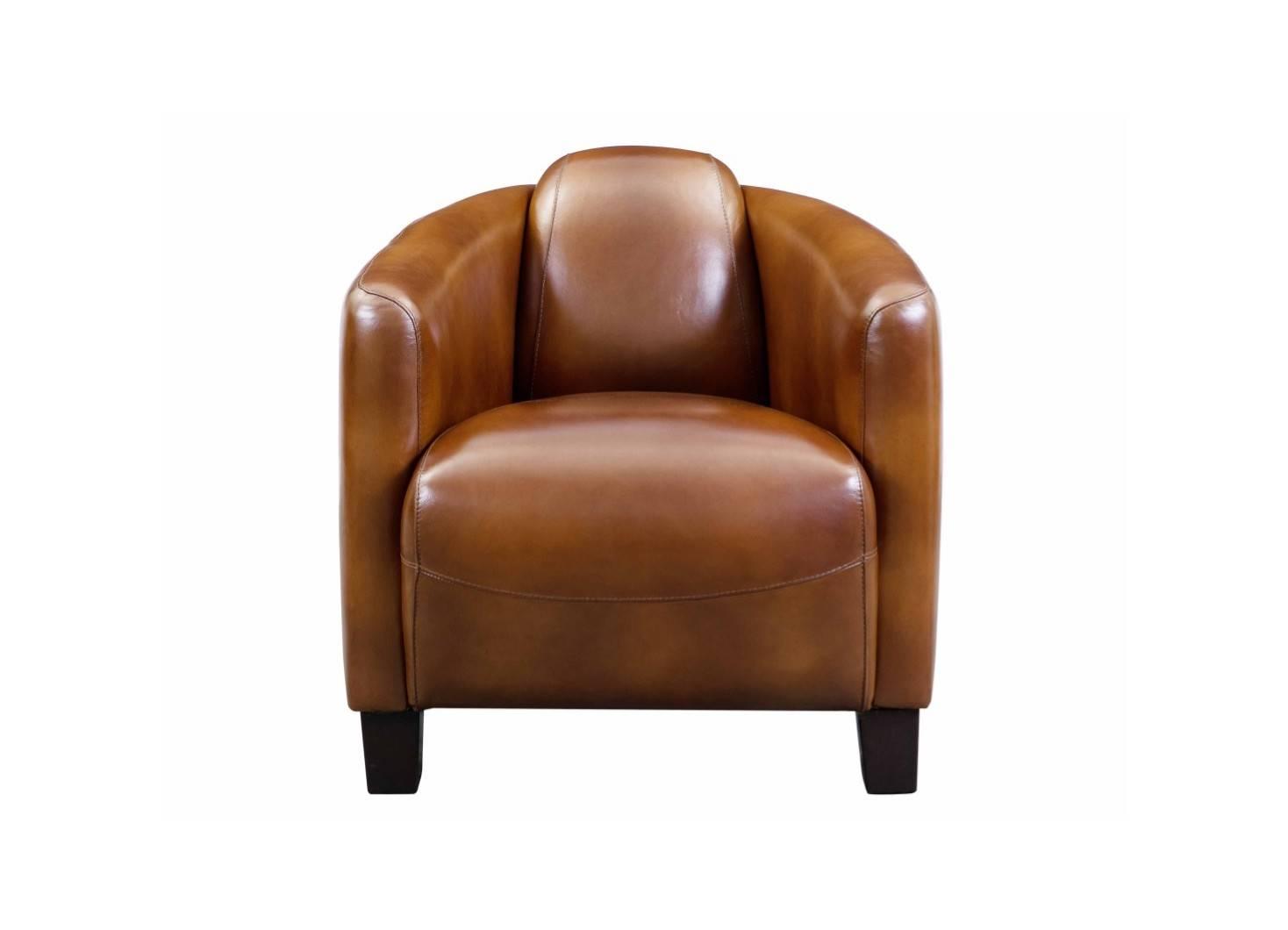 Fauteuil club Barquette - cuir marron vintage