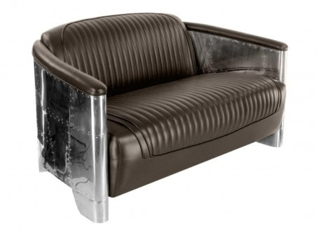 Aviator sofa - Dark brown leather