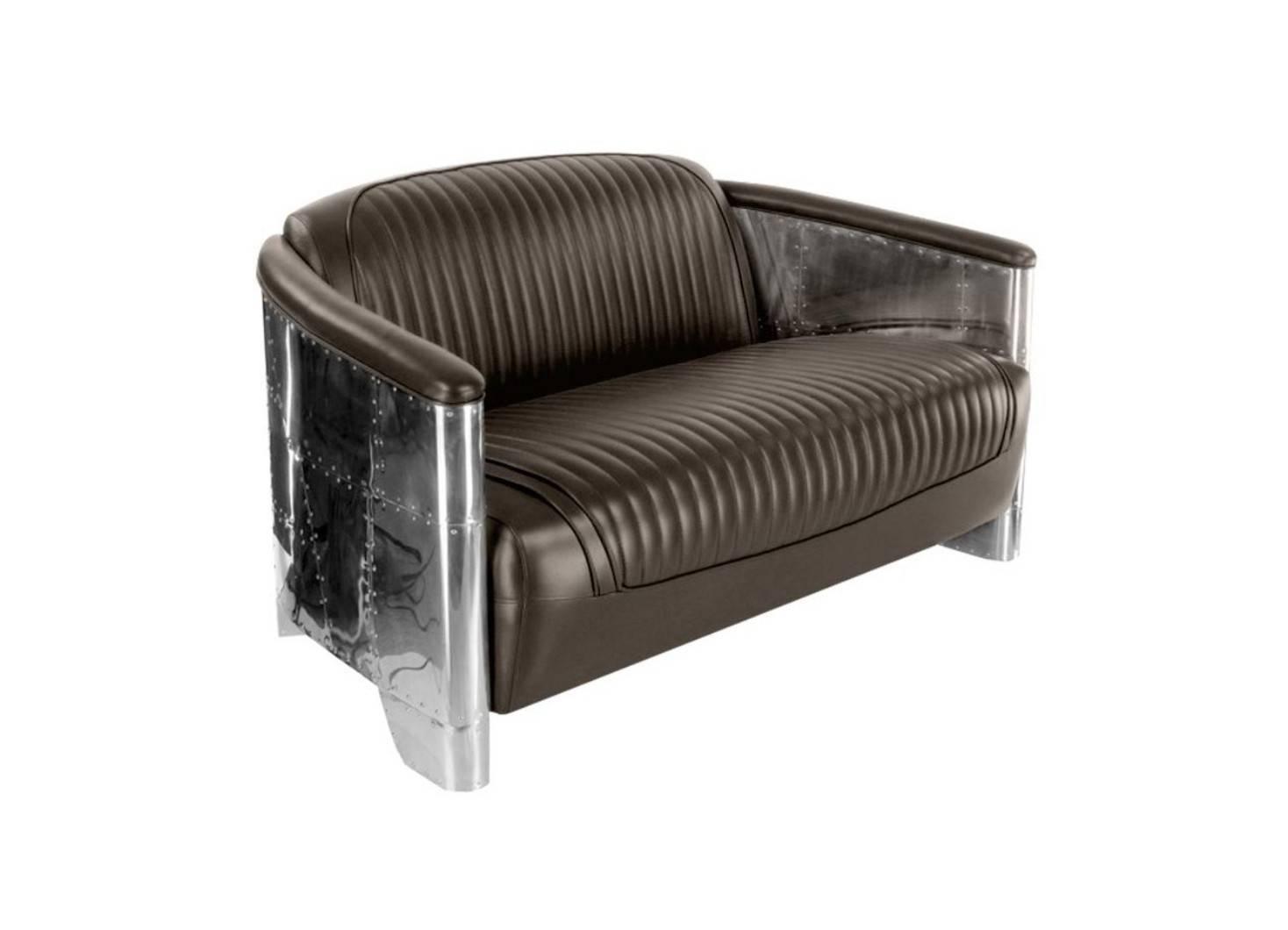 Canapé club design aviator cuir pleine fleur et aluminium riveté