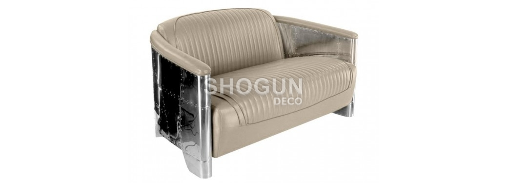 Aviator sofa - Beige leather