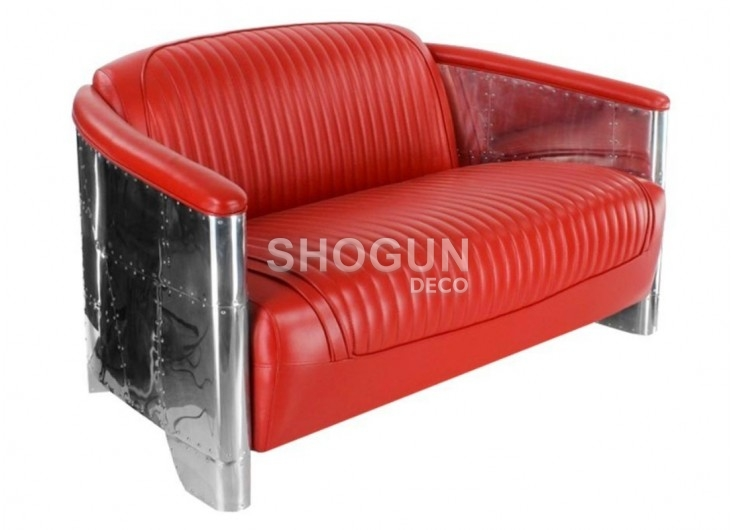 Red leather settee aviator style