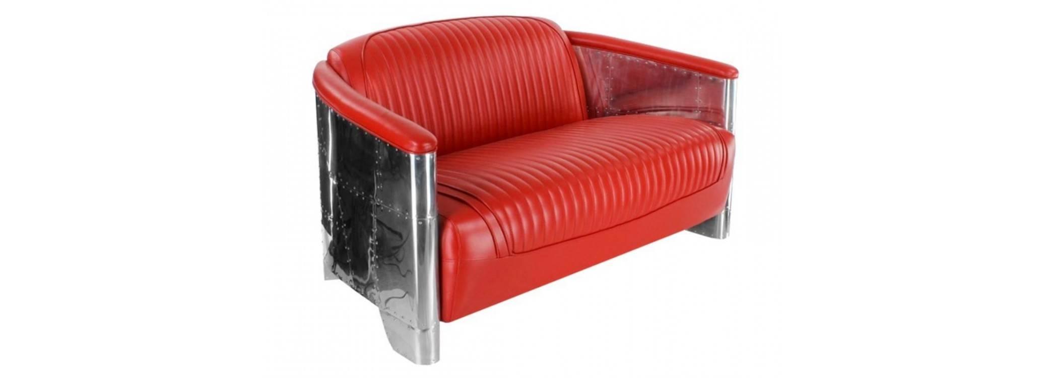 Canapé club DC3 - Cuir rouge