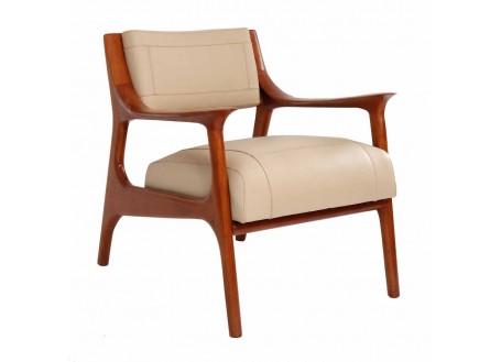 Nordic armchair beige leather