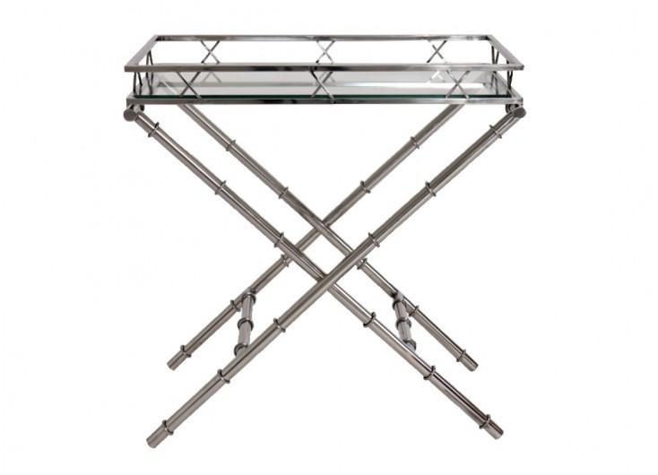 Bout de canapé - Desserte en aluminium et verre
