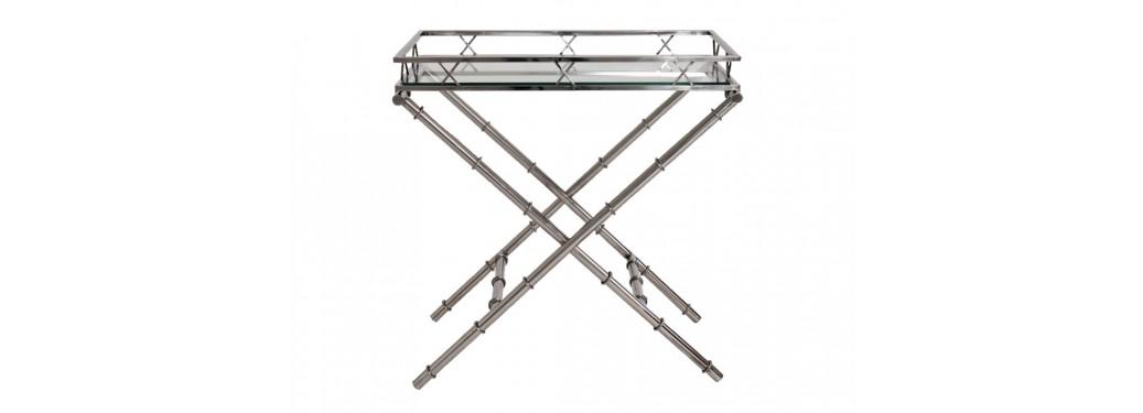 Table d'appoint - desserte en aluminium et verre