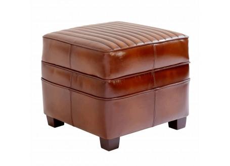 Pouf carré Nogent sport - Cuir marron