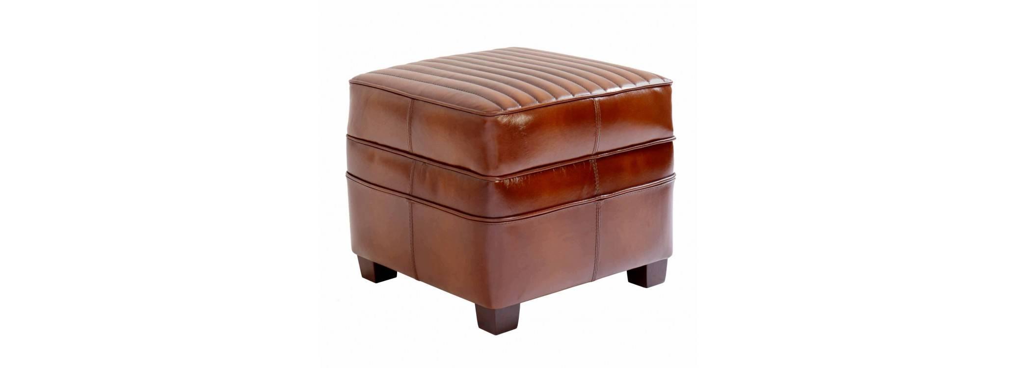 Pouf  Barquette carré sport - Cuir marron