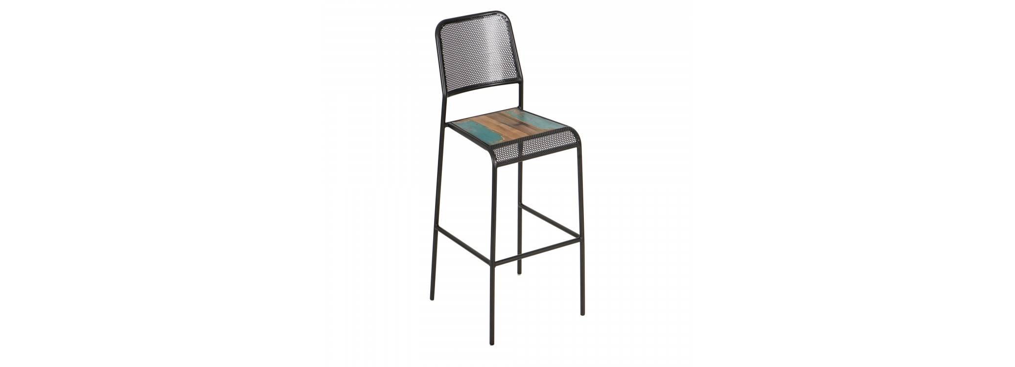 Chaise haute de bar Sixties - Métal perforé