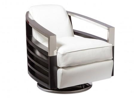 Fauteuil club Madison pivotant - Cuir blanc et finition chêne foncé