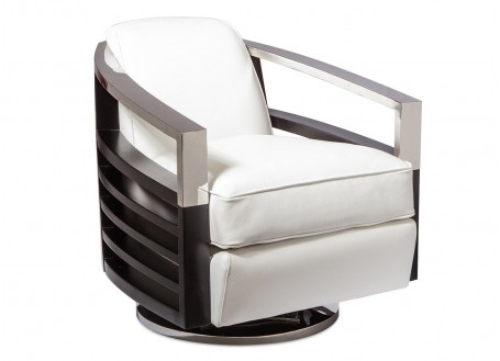 Madison swivel armchair - white leather