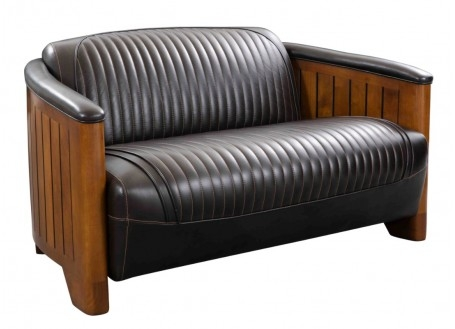 Marine sofa dark brown leather