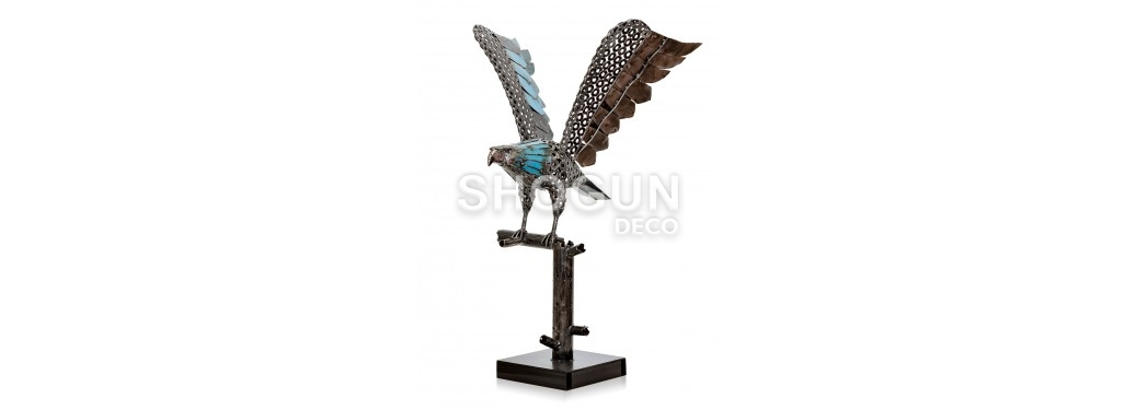 Eagle statue made out of mechanical pieces