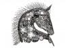 Sculpture tête de cheval en métal récupéré
