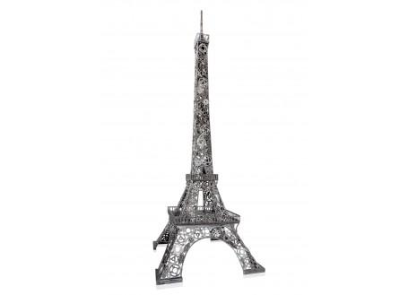 Sculpture de Tour Eiffel en pièces de motos