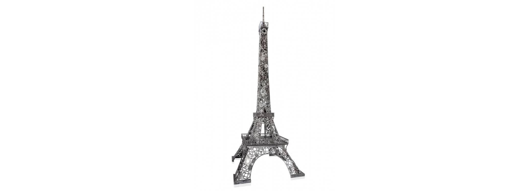 Metal sculpture in motorbike parts : Eiffel Tower