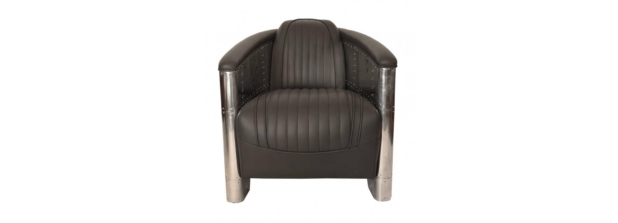 Aviator armchair - Grey leather
