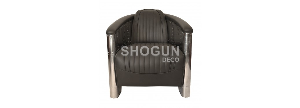 DC3 Armchair - Grey leather
