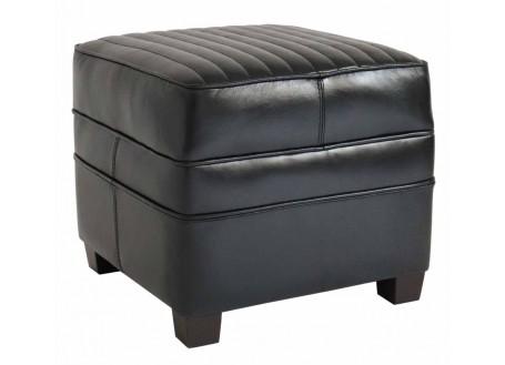 Pouf  Barquette carré sport - Cuir noir