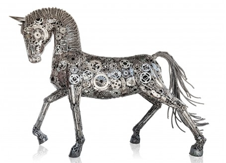 Horse statue made out of mechanical pieces