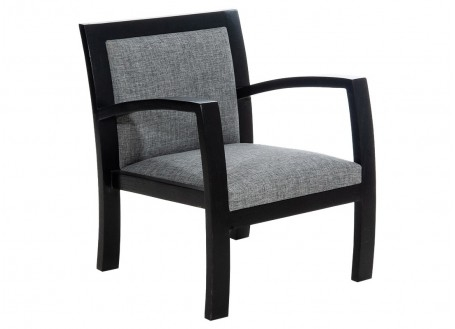 Combo Armchair - Black wood & grey fabric