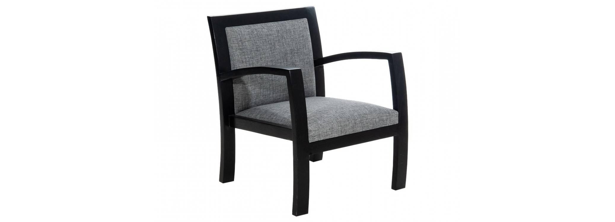 Fauteuil Combo - Bois noir & tissu gris